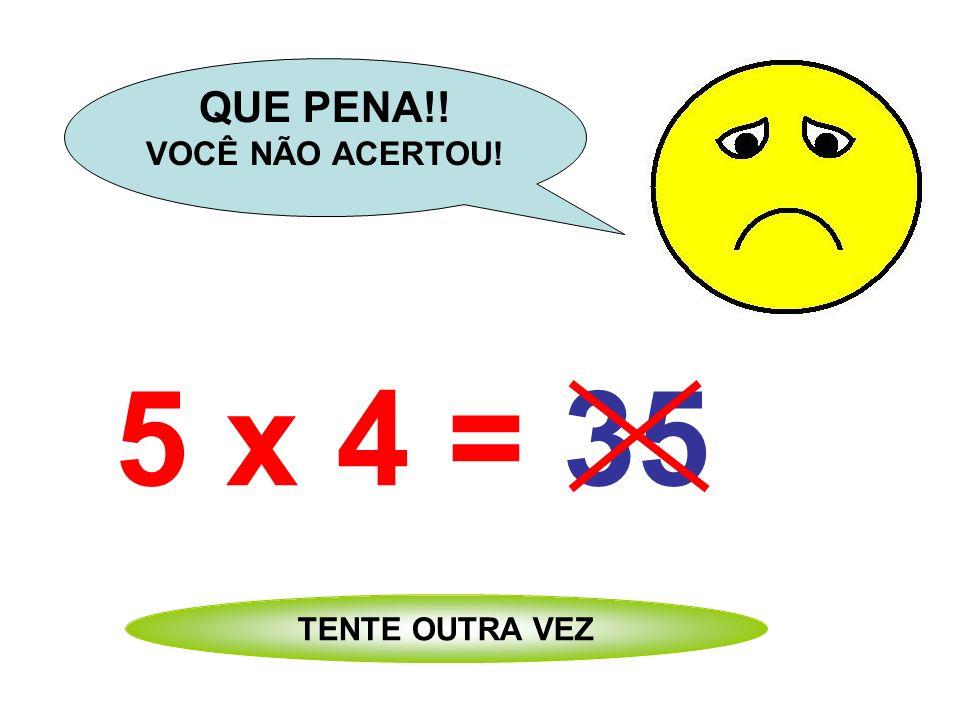 5 x 4 = 21 QUE PENA!! VOCÊ NÃO ACERTOU! TENTE OUTRA VEZ