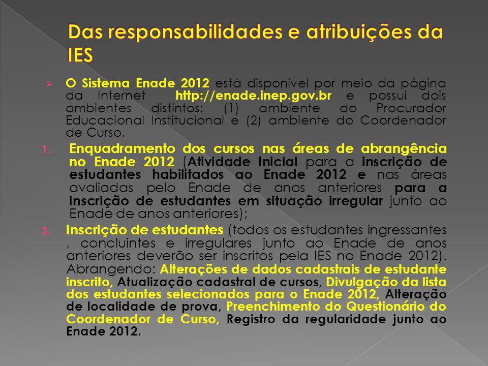 O Sistema Enade 2012 está disponível por meio da página da Internet http://enade.inep.gov.br e possui dois ambientes distintos: (1) ambiente do Procurador Educacional Institucional e (2) ambiente do Coordenador de Curso.