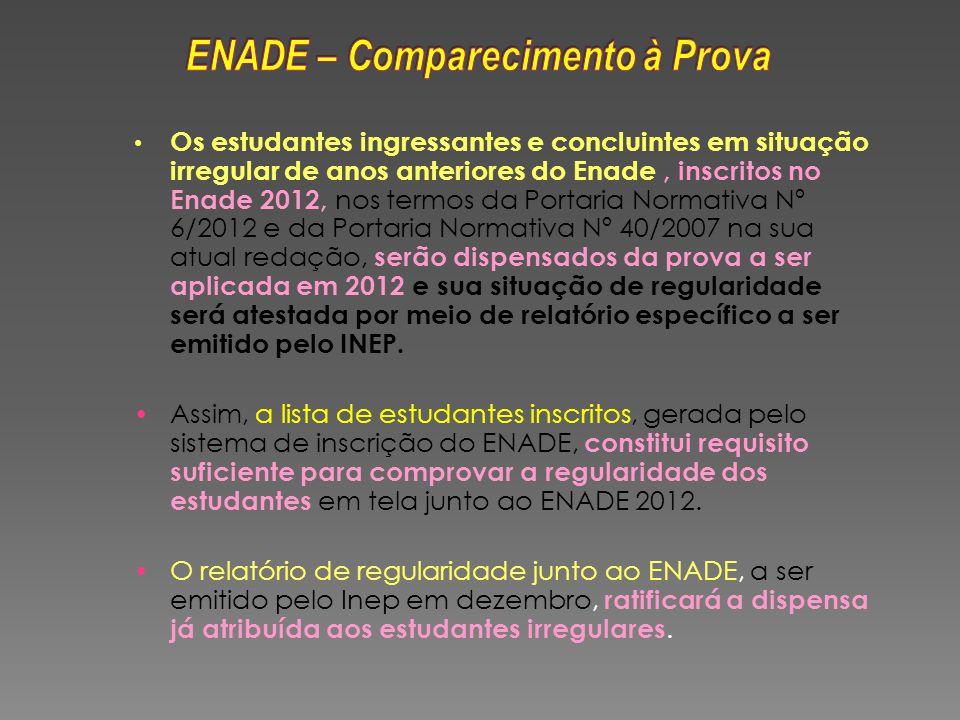 Os estudantes ingressantes e concluintes em situação irregular de anos anteriores do Enade, inscritos no Enade 2012, nos termos da Portaria Normativa