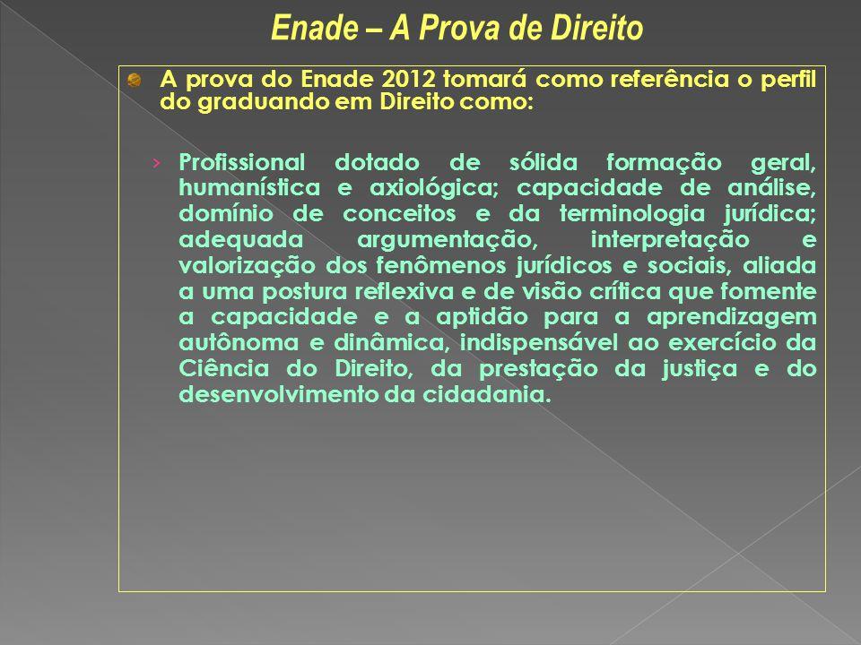 A prova do Enade 2012 tomará como referência o perfil do graduando em Direito como: Profissional dotado de sólida formação geral, humanística e axioló