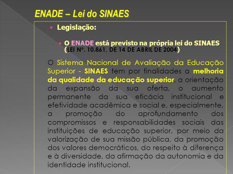 Legislação: O ENADE está previsto na própria lei do SINAES ( LEI Nº. 10.861, DE 14 DE ABRIL DE 2004 ) O Sistema Nacional de Avaliação da Educação Supe