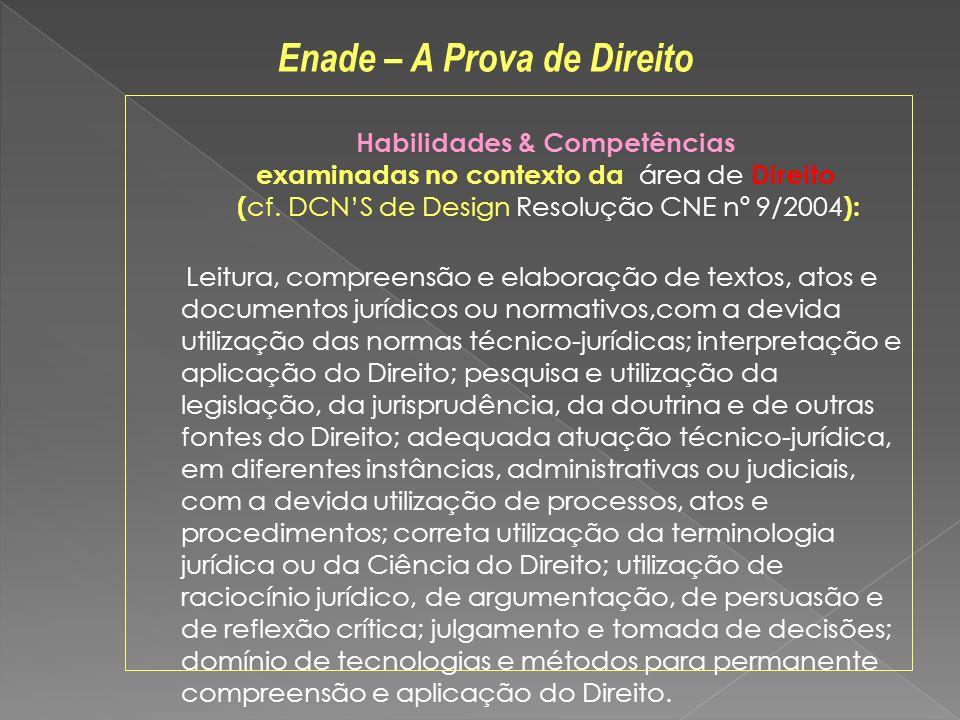 Habilidades & Competências examinadas no contexto da área de Direito ( cf. DCNS de Design Resolução CNE nº 9/2004 ): Leitura, compreensão e elaboração