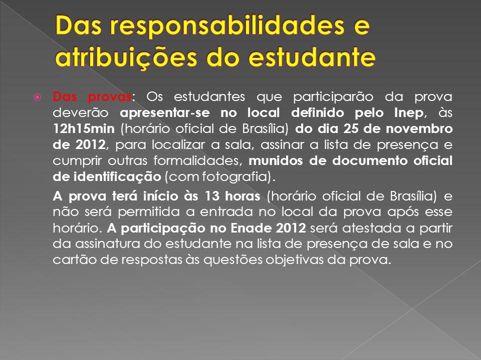 Das provas : Os estudantes que participarão da prova deverão apresentar-se no local definido pelo Inep, às 12h15min (horário oficial de Brasília) do dia 25 de novembro de 2012, para localizar a sala, assinar a lista de presença e cumprir outras formalidades, munidos de documento oficial de identificação (com fotografia).