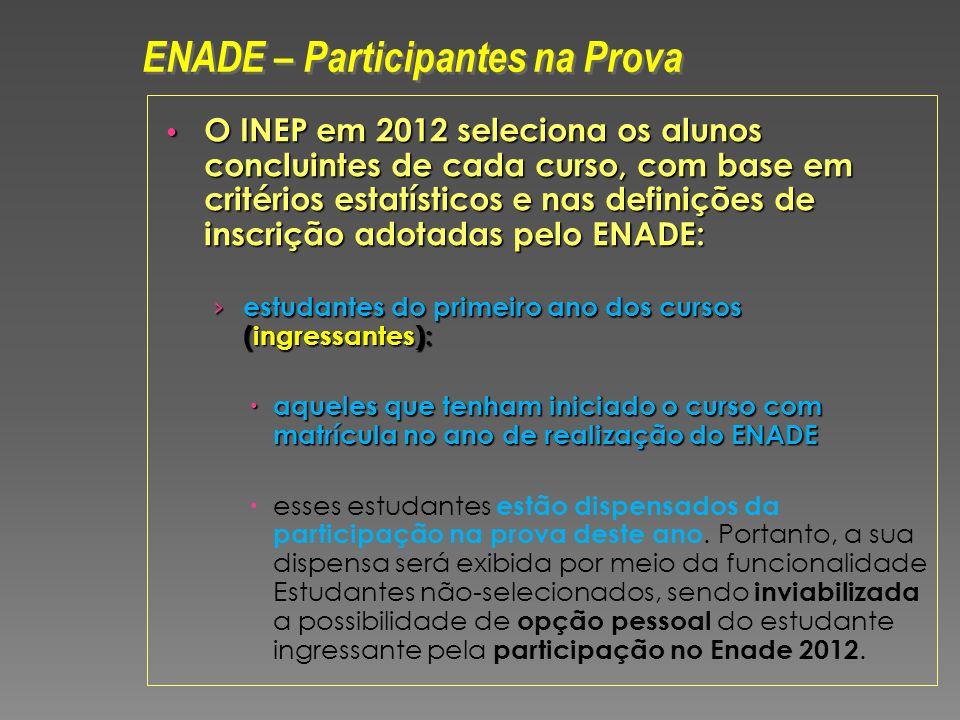 O INEP em 2012 seleciona os alunos concluintes de cada curso, com base em critérios estatísticos e nas definições de inscrição adotadas pelo ENADE: O INEP em 2012 seleciona os alunos concluintes de cada curso, com base em critérios estatísticos e nas definições de inscrição adotadas pelo ENADE: estudantes do primeiro ano dos cursos (ingressantes): estudantes do primeiro ano dos cursos (ingressantes): aqueles que tenham iniciado o curso com matrícula no ano de realização do ENADE aqueles que tenham iniciado o curso com matrícula no ano de realização do ENADE esses estudantes estão dispensados da participação na prova deste ano.