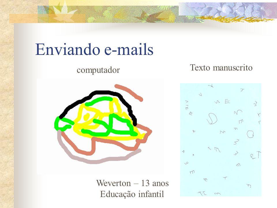 Enviando e-mails computador Weverton – 13 anos Educação infantil Texto manuscrito