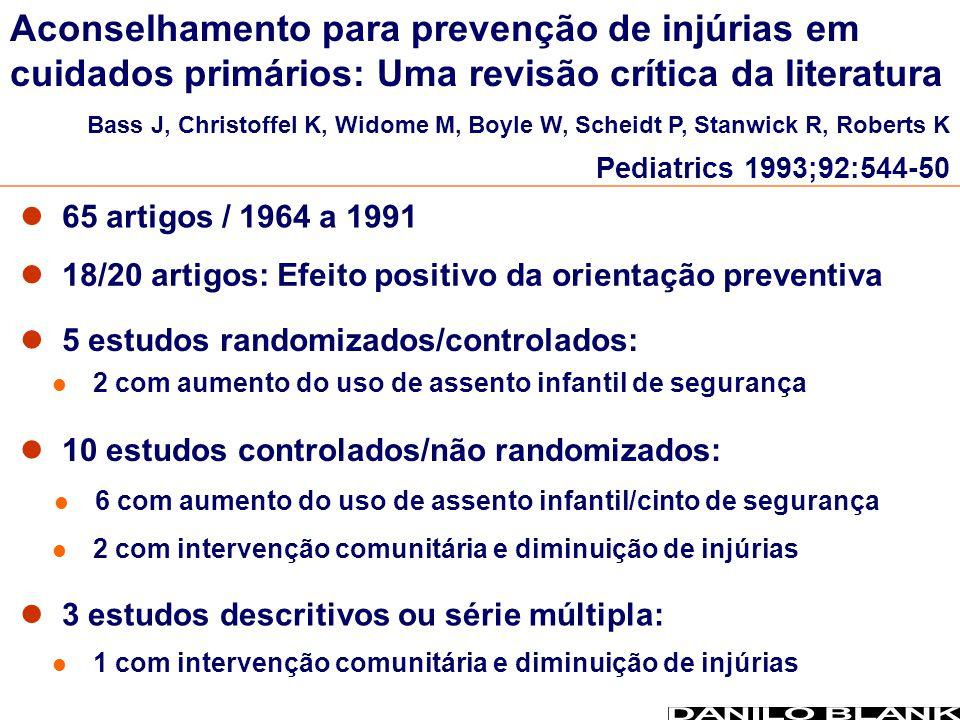 65 artigos / 1964 a 1991 18/20 artigos: Efeito positivo da orientação preventiva 5 estudos randomizados/controlados: 10 estudos controlados/não random