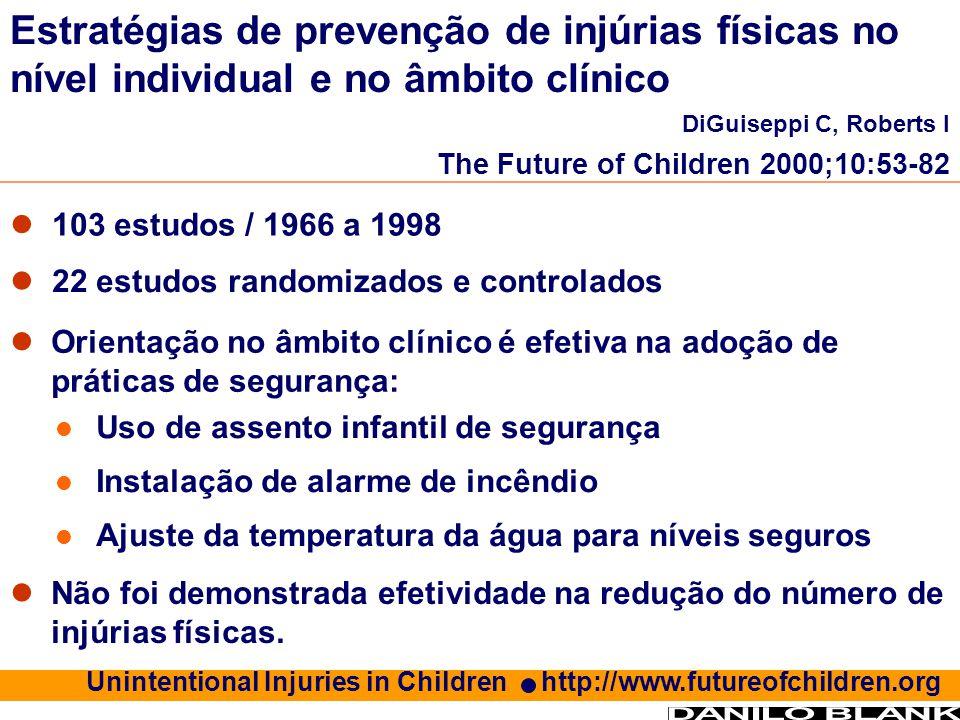 103 estudos / 1966 a 1998 22 estudos randomizados e controlados Estratégias de prevenção de injúrias físicas no nível individual e no âmbito clínico D