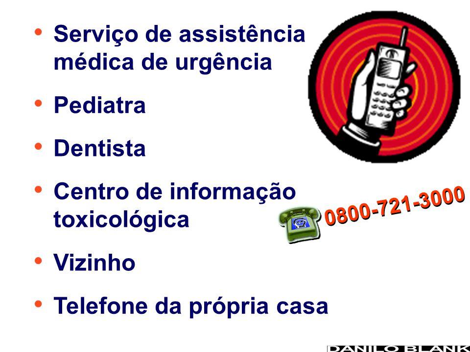 Serviço de assistência médica de urgência Pediatra Dentista Centro de informação toxicológica Vizinho Telefone da própria casa 0800-721-3000