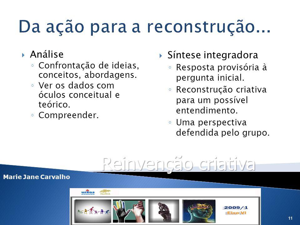 Marie Jane Carvalho 11 Análise Confrontação de ideias, conceitos, abordagens. Ver os dados com óculos conceitual e teórico. Compreender. Síntese integ
