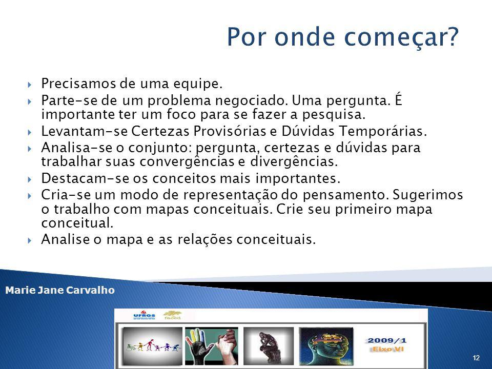 Marie Jane Carvalho 12 Precisamos de uma equipe. Parte-se de um problema negociado. Uma pergunta. É importante ter um foco para se fazer a pesquisa. L