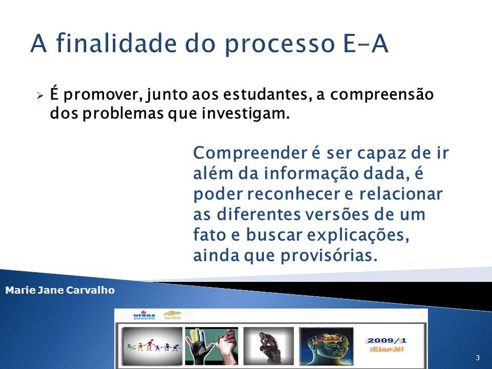 Marie Jane Carvalho 3 É promover, junto aos estudantes, a compreensão dos problemas que investigam. Compreender é ser capaz de ir além da informação d