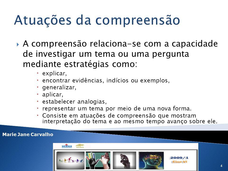Marie Jane Carvalho 4 A compreensão relaciona-se com a capacidade de investigar um tema ou uma pergunta mediante estratégias como: explicar, encontrar