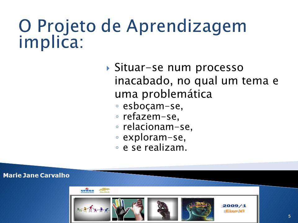 Marie Jane Carvalho 5 Situar-se num processo inacabado, no qual um tema e uma problemática esboçam-se, refazem-se, relacionam-se, exploram-se, e se re
