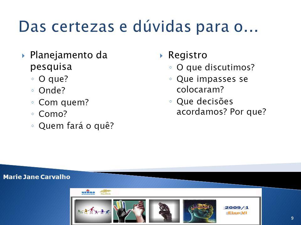 Marie Jane Carvalho 9 Planejamento da pesquisa O que? Onde? Com quem? Como? Quem fará o quê? Registro O que discutimos? Que impasses se colocaram? Que