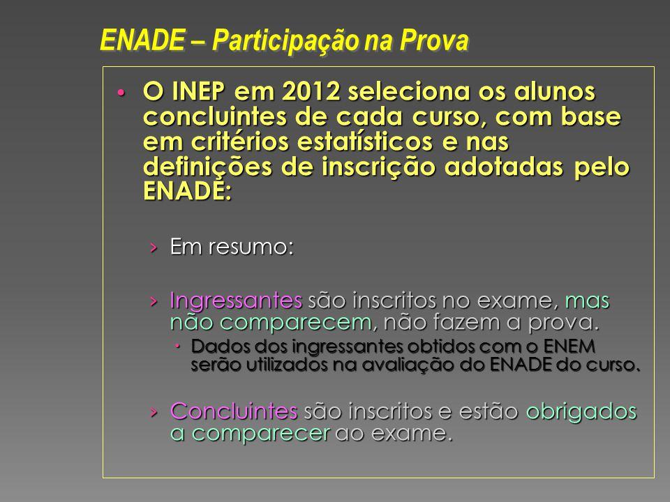 O INEP em 2012 seleciona os alunos concluintes de cada curso, com base em critérios estatísticos e nas definições de inscrição adotadas pelo ENADE: O INEP em 2012 seleciona os alunos concluintes de cada curso, com base em critérios estatísticos e nas definições de inscrição adotadas pelo ENADE: Em resumo: Em resumo: Ingressantes são inscritos no exame, mas não comparecem, não fazem a prova.