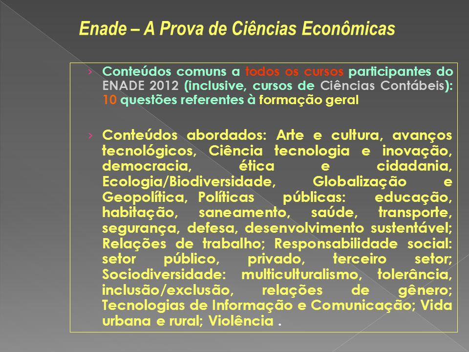 Conteúdos comuns a todos os cursos participantes do ENADE 2012 (inclusive, cursos de Ciências Contábeis): 10 questões referentes à formação geral Cont