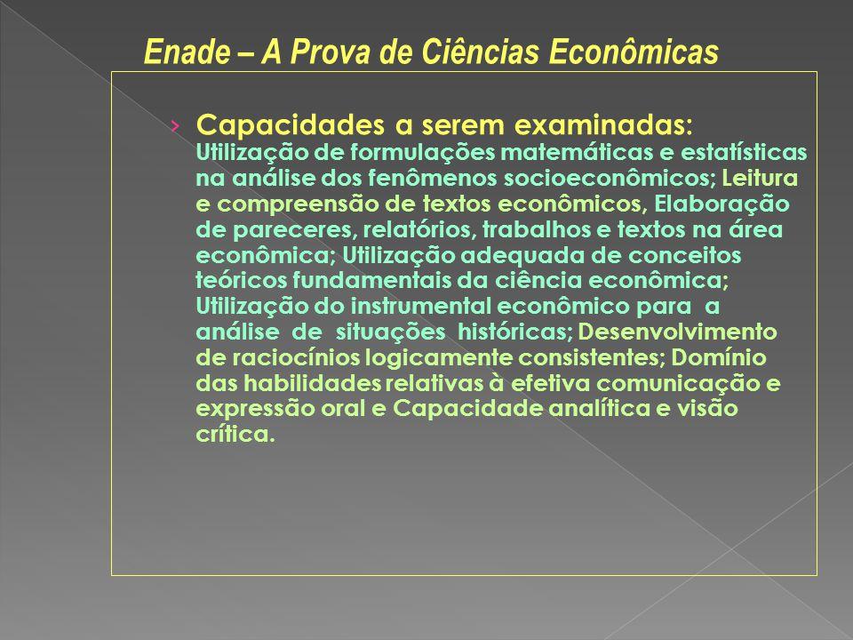 Capacidades a serem examinadas: Utilização de formulações matemáticas e estatísticas na análise dos fenômenos socioeconômicos; Leitura e compreensão d