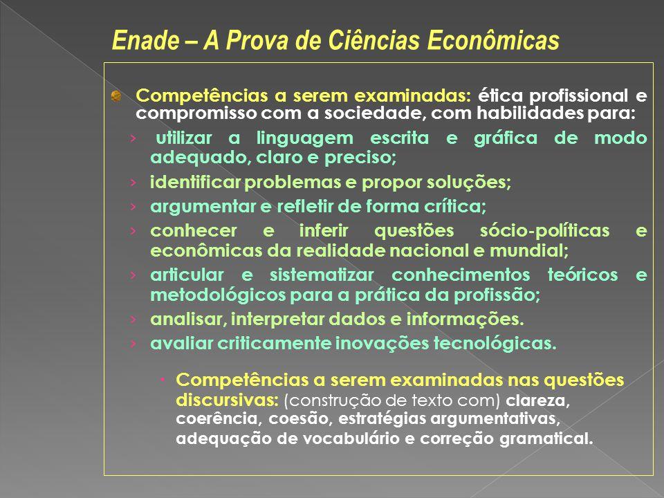Competências a serem examinadas: ética profissional e compromisso com a sociedade, com habilidades para: utilizar a linguagem escrita e gráfica de mod