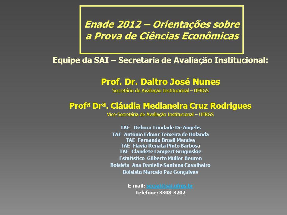 Equipe da SAI – Secretaria de Avaliação Institucional: Prof. Dr. Daltro José Nunes Secretário de Avaliação Institucional – UFRGS Profª Drª. Cláudia Me