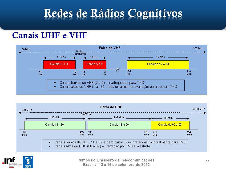 11 Canais UHF e VHF Simpósio Brasileiro de Telecomunicações Brasília, 13 a 16 de setembro de 2012