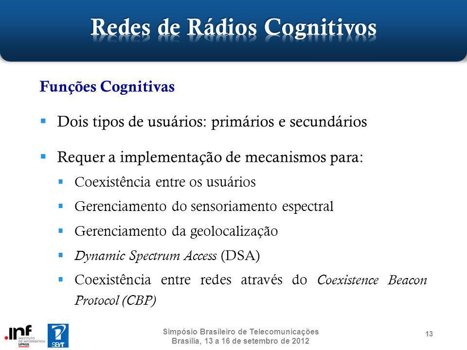 13 Funções Cognitivas Dois tipos de usuários: primários e secundários Requer a implementação de mecanismos para: Coexistência entre os usuários Gerenc