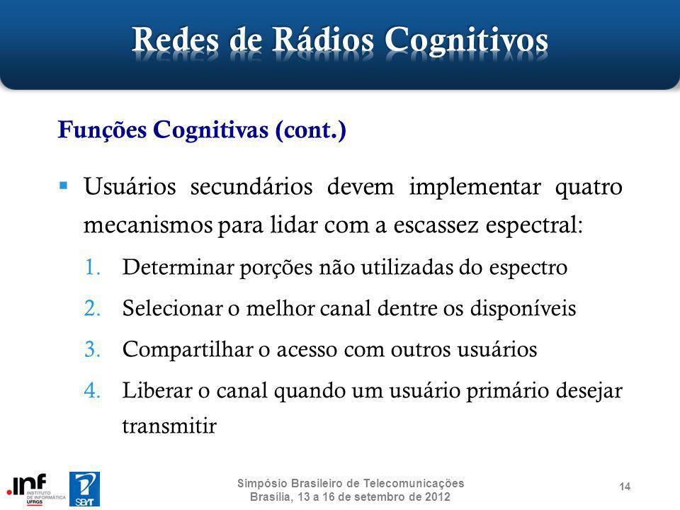 14 Funções Cognitivas (cont.) Usuários secundários devem implementar quatro mecanismos para lidar com a escassez espectral: 1.Determinar porções não u