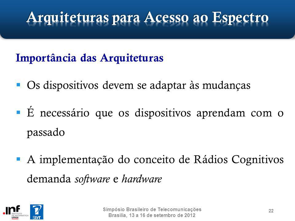 22 Importância das Arquiteturas Os dispositivos devem se adaptar às mudanças É necessário que os dispositivos aprendam com o passado A implementação d