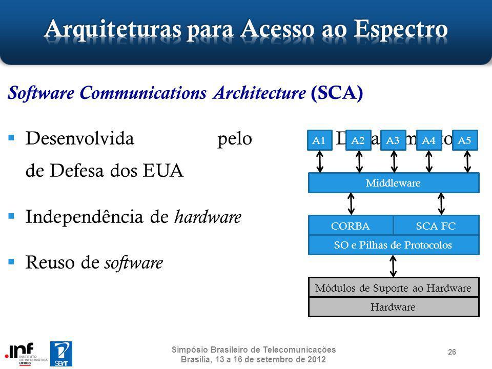 Software Communications Architecture (SCA) Desenvolvida pelo Departamento de Defesa dos EUA Independência de hardware Reuso de software 26 Simpósio Br
