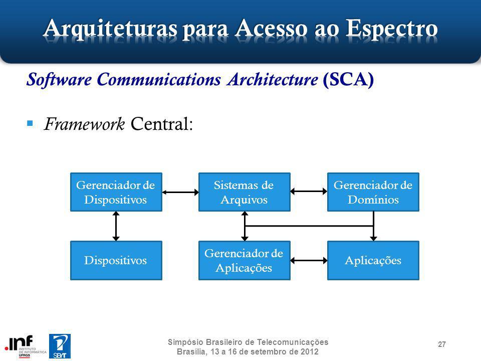 Software Communications Architecture (SCA) Framework Central: 27 Simpósio Brasileiro de Telecomunicações Brasília, 13 a 16 de setembro de 2012 Gerenci