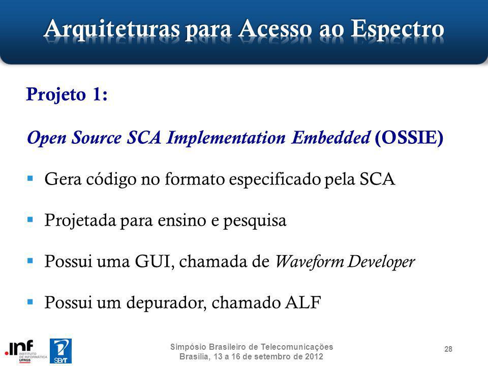 Projeto 1: Open Source SCA Implementation Embedded (OSSIE) Gera código no formato especificado pela SCA Projetada para ensino e pesquisa Possui uma GU