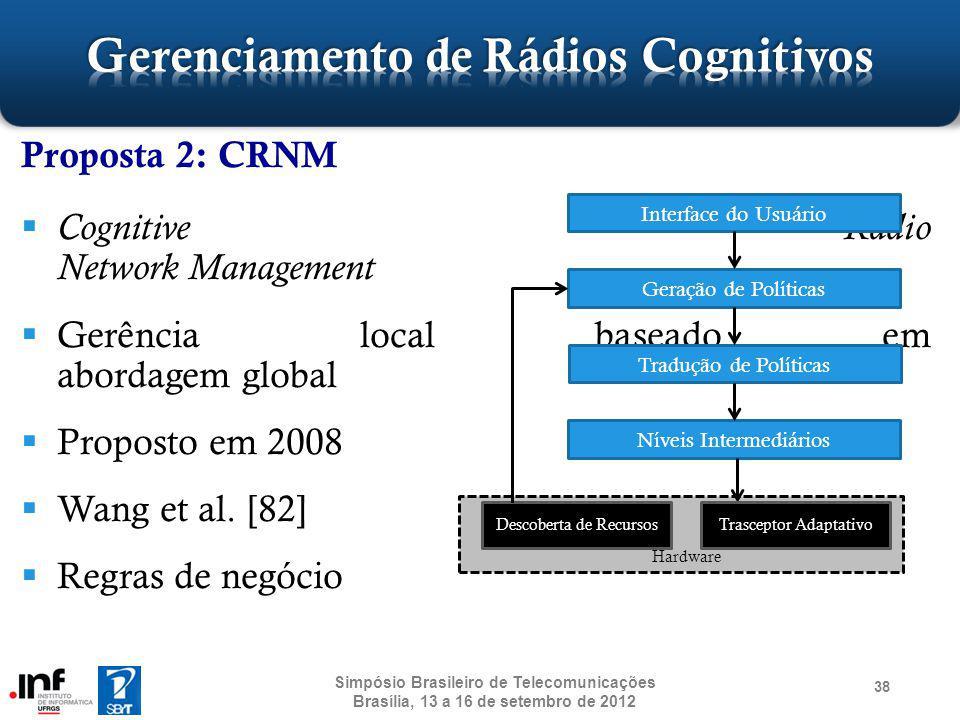 Proposta 2: CRNM Cognitive Radio Network Management Gerência local baseado em abordagem global Proposto em 2008 Wang et al. [82] Regras de negócio 38