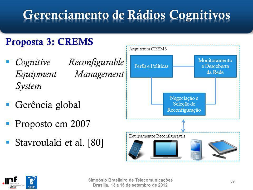 Proposta 3: CREMS Cognitive Reconfigurable Equipment Management System Gerência global Proposto em 2007 Stavroulaki et al. [80] 39 Simpósio Brasileiro