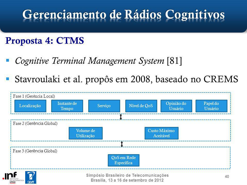Proposta 4: CTMS Cognitive Terminal Management System [81] Stavroulaki et al. propôs em 2008, baseado no CREMS 40 Simpósio Brasileiro de Telecomunicaç