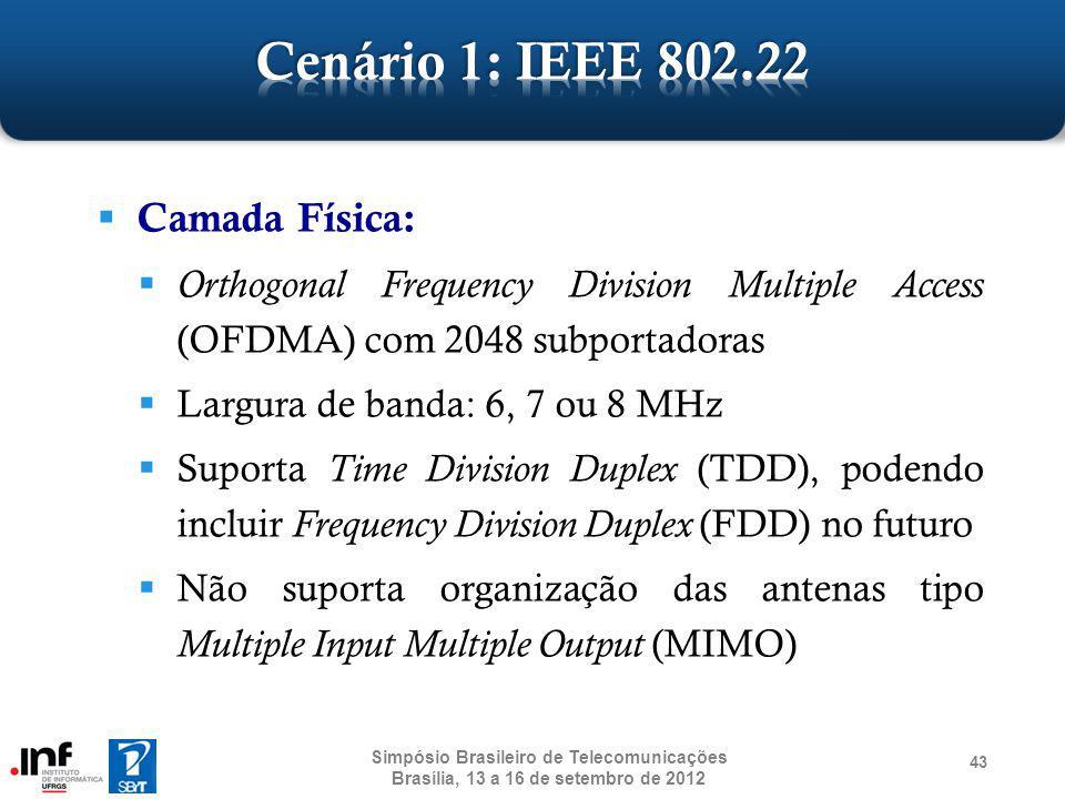 Camada Física: Orthogonal Frequency Division Multiple Access (OFDMA) com 2048 subportadoras Largura de banda: 6, 7 ou 8 MHz Suporta Time Division Dupl