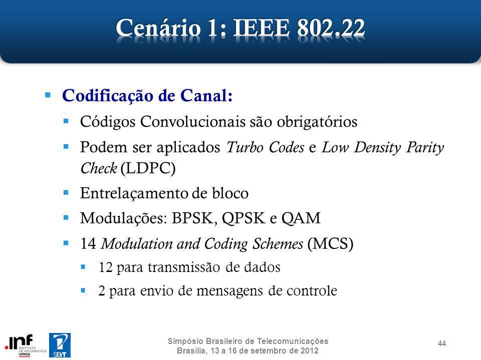 Codificação de Canal: Códigos Convolucionais são obrigatórios Podem ser aplicados Turbo Codes e Low Density Parity Check (LDPC) Entrelaçamento de bloc