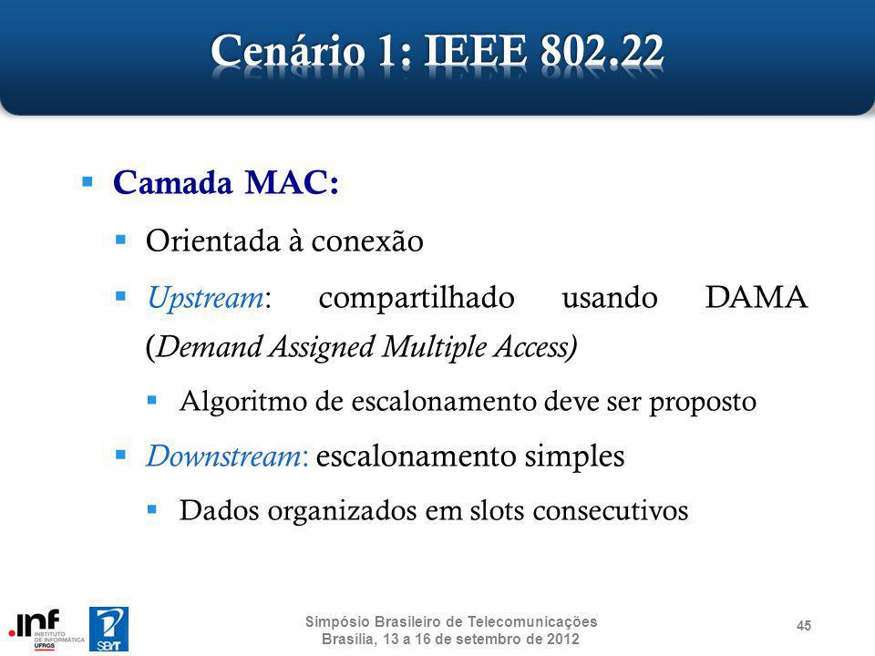Camada MAC: Orientada à conexão Upstream : compartilhado usando DAMA ( Demand Assigned Multiple Access) Algoritmo de escalonamento deve ser proposto D