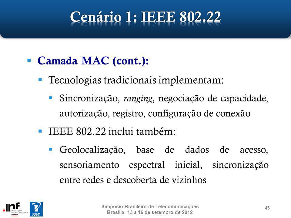 Camada MAC (cont.): Tecnologias tradicionais implementam: Sincronização, ranging, negociação de capacidade, autorização, registro, configuração de con