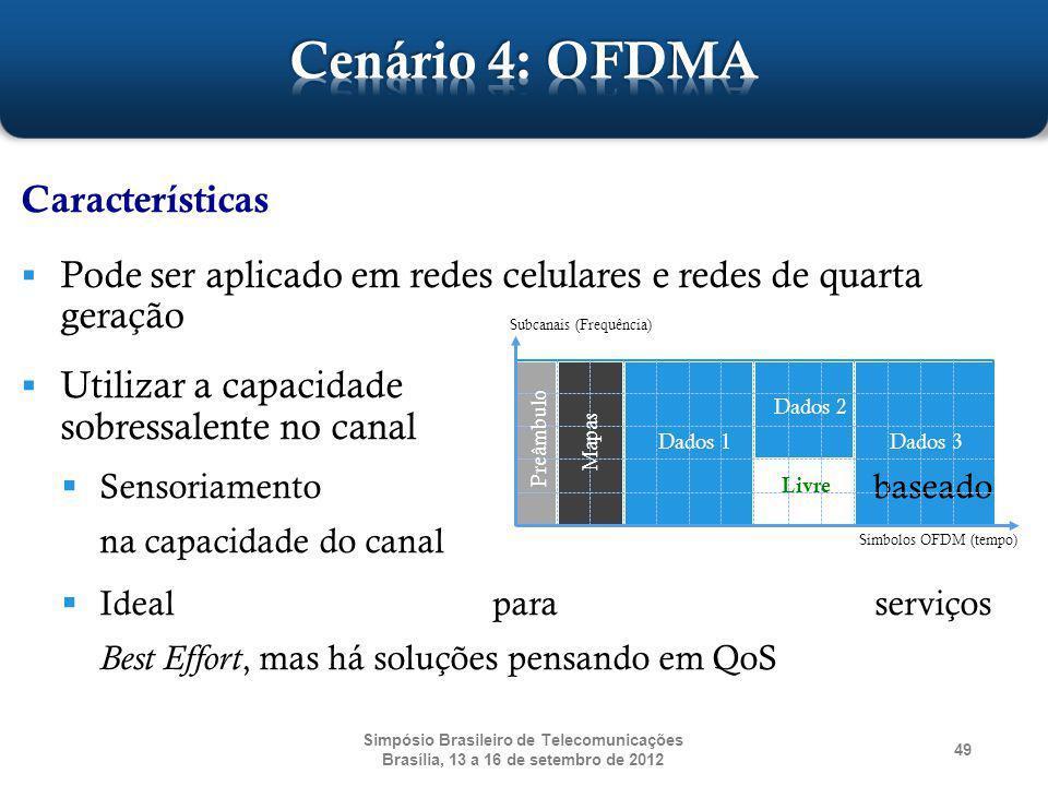 Simpósio Brasileiro de Telecomunicações Brasília, 13 a 16 de setembro de 2012 49 Características Pode ser aplicado em redes celulares e redes de quart