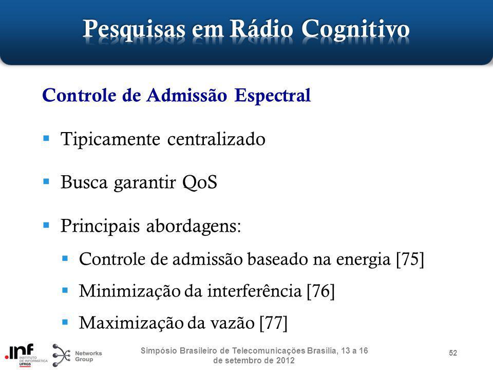 52 Controle de Admissão Espectral Tipicamente centralizado Busca garantir QoS Principais abordagens: Controle de admissão baseado na energia [75] Mini