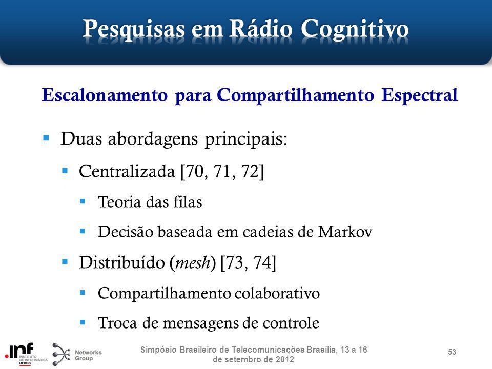 53 Escalonamento para Compartilhamento Espectral Duas abordagens principais: Centralizada [70, 71, 72] Teoria das filas Decisão baseada em cadeias de