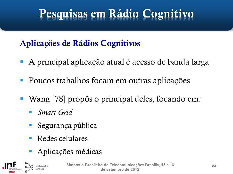 54 Aplicações de Rádios Cognitivos A principal aplicação atual é acesso de banda larga Poucos trabalhos focam em outras aplicações Wang [78] propôs o