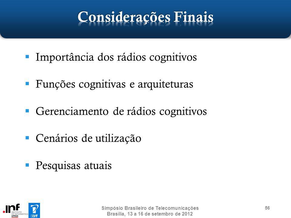 Importância dos rádios cognitivos Funções cognitivas e arquiteturas Gerenciamento de rádios cognitivos Cenários de utilização Pesquisas atuais 56 Simp
