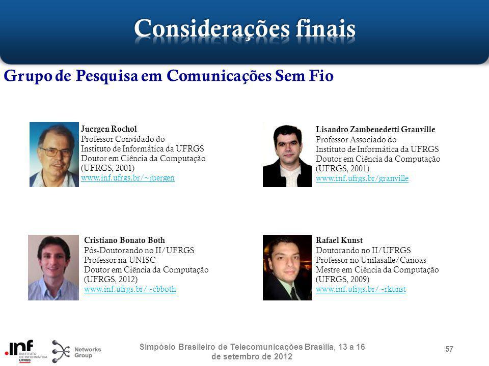 57 Grupo de Pesquisa em Comunicações Sem Fio Simpósio Brasileiro de Telecomunicações Brasília, 13 a 16 de setembro de 2012 Juergen Rochol Professor Co
