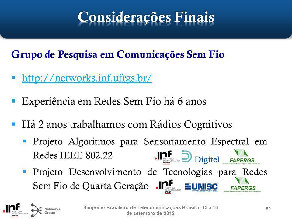Grupo de Pesquisa em Comunicações Sem Fio http://networks.inf.ufrgs.br/ Experiência em Redes Sem Fio há 6 anos Há 2 anos trabalhamos com Rádios Cognit