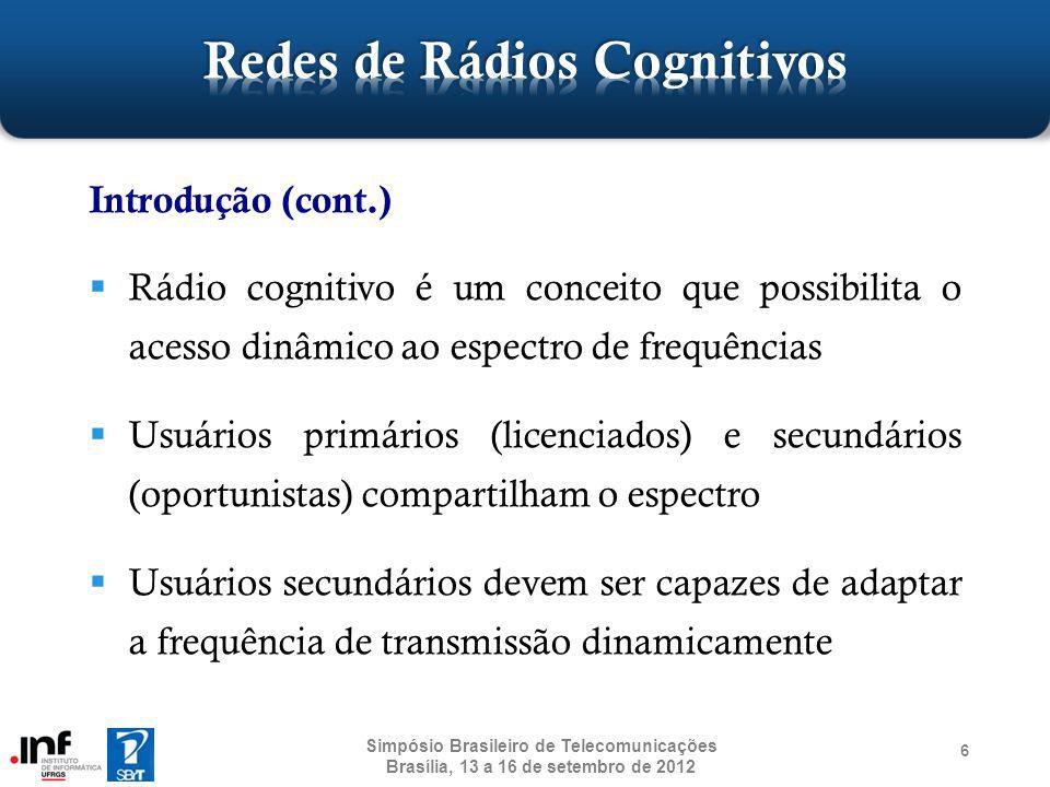 6 Introdução (cont.) Rádio cognitivo é um conceito que possibilita o acesso dinâmico ao espectro de frequências Usuários primários (licenciados) e sec