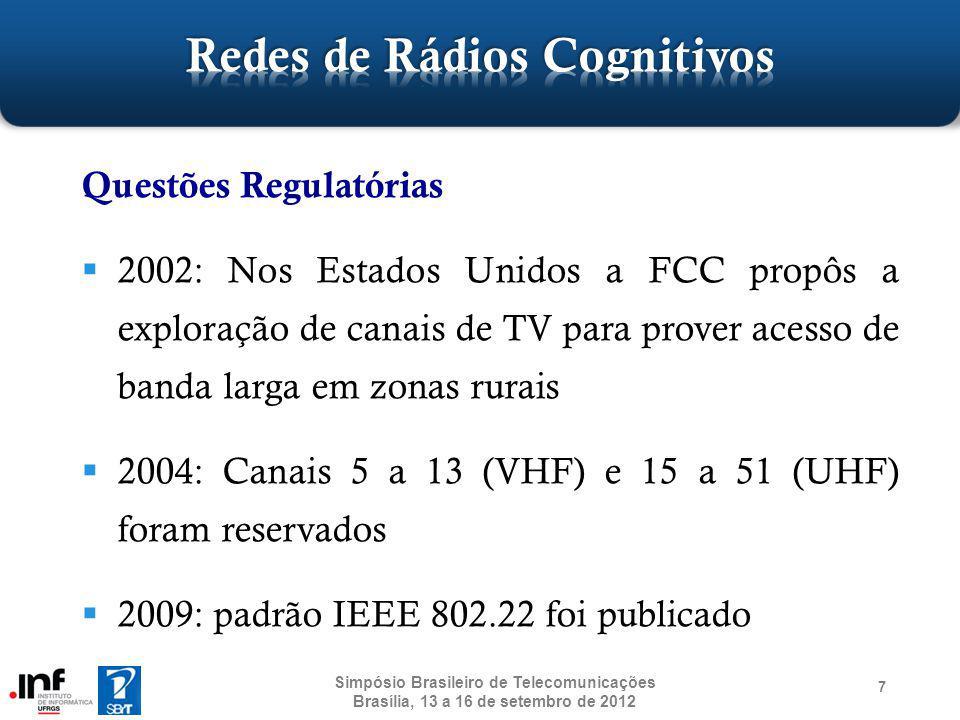 18 Compartilhamento Espectral [52] Unidade Central Centralizado [53] Requisição/Resposta - Políticas Usuário secundário Área de compartilhamento espectral Distribuído [54]Colaborativo [52] Mapa de alocação espectral Base de Políticas Network #1Network #2 Base de Políticas Simpósio Brasileiro de Telecomunicações Brasília, 13 a 16 de setembro de 2012 Base de Políticas