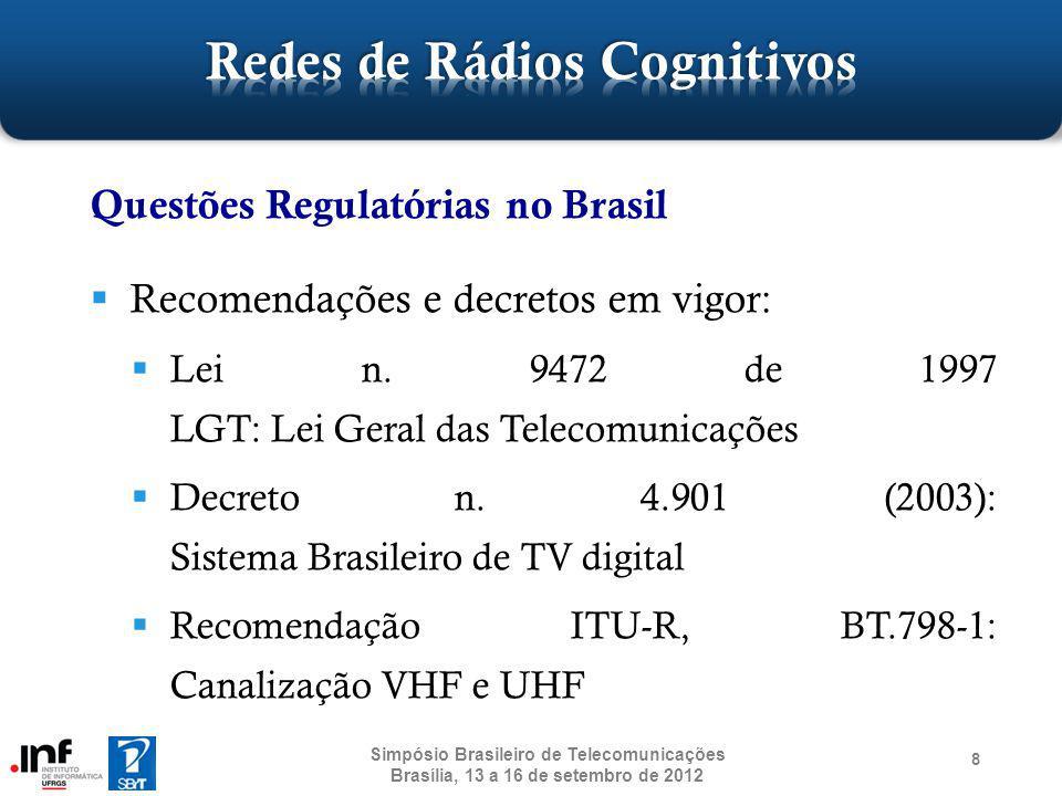 Grupo de Pesquisa em Comunicações Sem Fio http://networks.inf.ufrgs.br/ Experiência em Redes Sem Fio há 6 anos Há 2 anos trabalhamos com Rádios Cognitivos Projeto Algoritmos para Sensoriamento Espectral em Redes IEEE 802.22 Projeto Desenvolvimento de Tecnologias para Redes Sem Fio de Quarta Geração 59 Simpósio Brasileiro de Telecomunicações Brasília, 13 a 16 de setembro de 2012