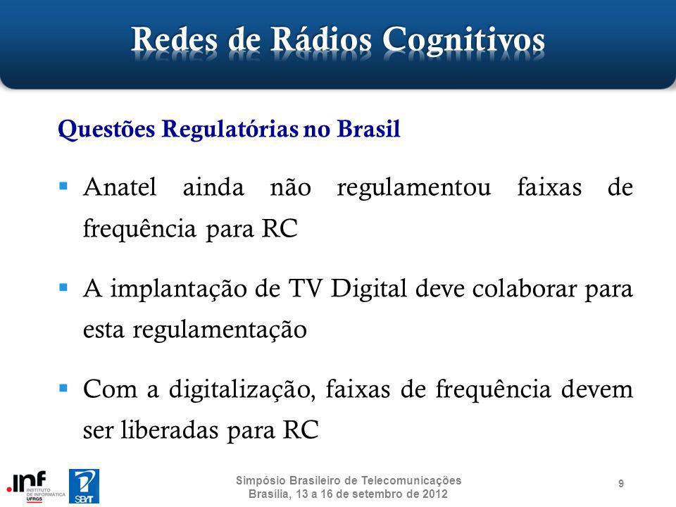 Introdução a Redes de Rádios Cognitivos Funções Cognitivas Arquiteturas para Acesso ao Espectro Gerenciamento de Rádios Cognitivos Cenários de Utilização Pesquisas em Rádios Cognitivos Considerações Finais 50 Simpósio Brasileiro de Telecomunicações Brasília, 13 a 16 de setembro de 2012