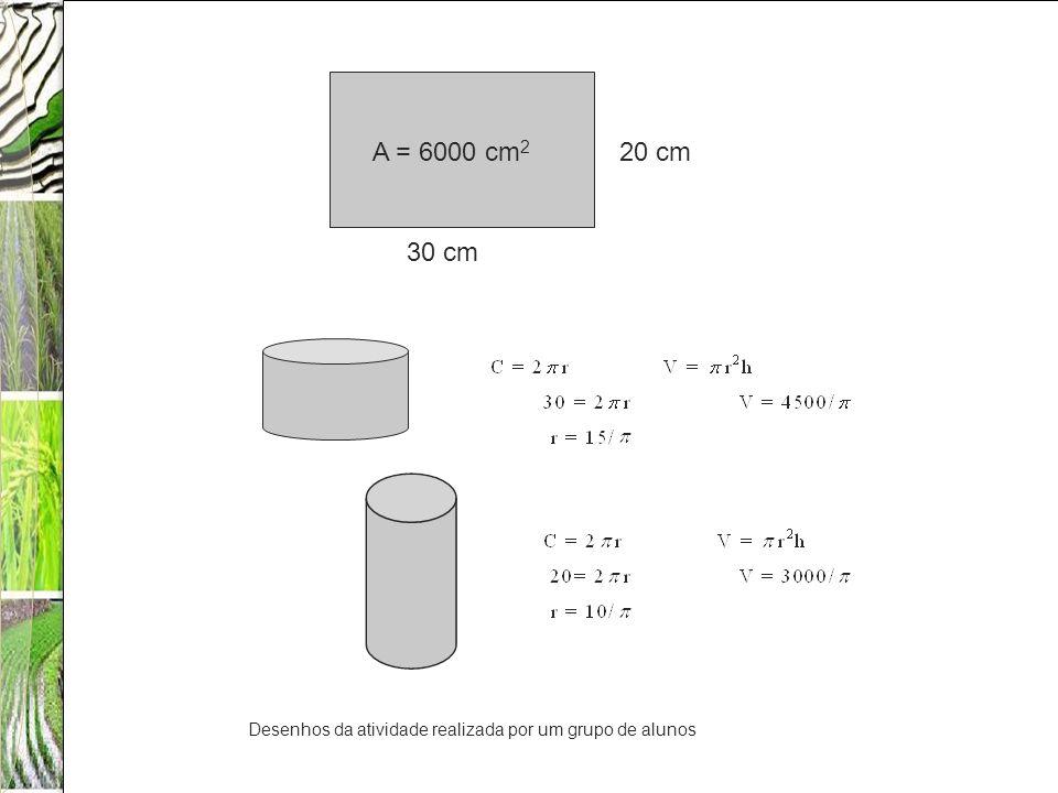 A = 6000 cm 2 20 cm 30 cm Desenhos da atividade realizada por um grupo de alunos