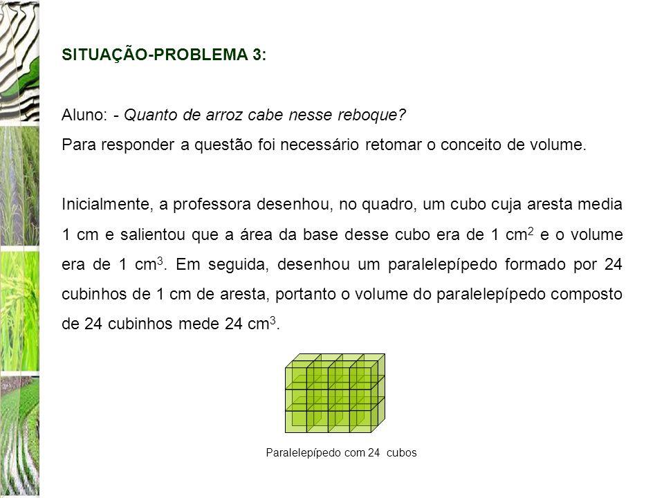 SITUAÇÃO-PROBLEMA 3: Aluno: - Quanto de arroz cabe nesse reboque? Para responder a questão foi necessário retomar o conceito de volume. Inicialmente,